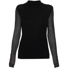 Elie Tahari Maxina Black Merino Sweater ($228) ❤ liked on Polyvore featuring tops, sweaters, black, sheer top, sheer black sweater, elie tahari sweaters, long sleeve tops and black sheer top