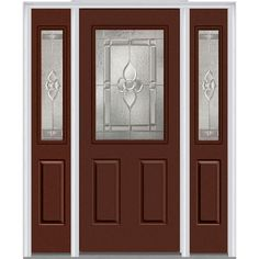 Milliken Millwork 64.5 in. x 81.75 in. Master Nouveau Decorative Glass 1/2 Lite Painted Majestic Steel Exterior Door with Sidelites, Redwood