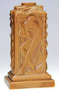 Lamp Base; Cowan Pottery, Gregory (Waylande), Nudes, Brown Matte Glaze, 12 inch. Antique Pottery, Pottery Art, Treasure Hunting, Lamp Bases, Deco, American Art, Nudes, Glaze, Sculpture