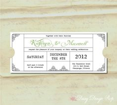 Wedding Invitation Vintage Train Ticket And Rsvp Card With Envelopes