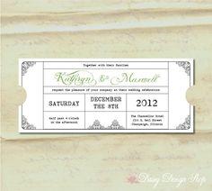 Wedding Invitation  Vintage Train Ticket  by DaisyDesignShop, $2.60