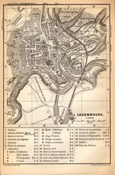 1897 Luxembourg City Plan Antique Map Vintage by Craftissimo