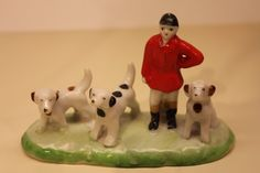 Vintage Japan Porcelain Fox Hunt 3 Dogs and English Man in Red Coat Ceramic | eBay