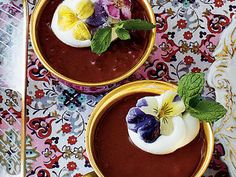 Chocolate-Espresso Pots de Crème | It cannot get much better when chocolate and coffee are in the same dessert. Top Chocolate-Espresso Pots de Creme with edible flowers for the perfect touch. Take your pick at crystallizedflowers.com.