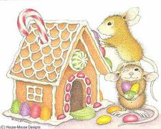 """""""Christmas Cottage"""" from House-Mouse Designs® featured on the The Daily Squeek® for November 27th, 2012. Click on the image to see it on a bunch of really """"Mice"""" products."""