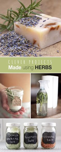 Clever Projects Made using Herbs • Love some of these projects • Click thru to see these great ideas, crafts and tutorials with herbs! #ProjectsUsingHerbs #HerbalCrafts #projectswithherbs #CraftingProjects #HerbProjects #DIYherbprojects #DIY #DIYgardenprojects