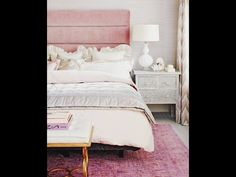Via Made By Girl. Beautiful bedroom with pink velvet headboard and bone in Any chest, touches of gold and overdyed rug