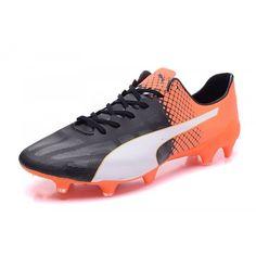 Billig Puma evoSPEED 1.4 SL FG Vit Orange Svart Fotbollsskor