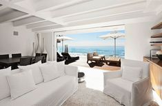 Modern cottage. Sofa, Dining Table, Oceanfront Home in Malibu, California