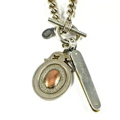 Fribble Pistol vintage silver statement necklace with toggle clasp, watch fob and fruit knife...