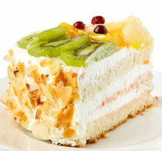 With fresh fruit topping.. Vanilla Layer Cake Recipe from Grandmothers Kitchen.