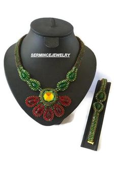 Free shipping - Jewelry Set - Modern art jewelry - Bead woven green seed bead - Beadwork - Right Angle Weave set - unique gift, OOAK