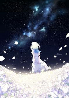 The Background of Anime Sky Anime, Anime Galaxy, Manga Anime, Anime Naruto, Kawaii Anime Girl, Anime Art Girl, Manga Girl, Anime Girls, Hair Turning White