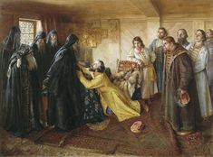 Painting by Klavdiy Vasilievich Lebedev in 1898 of Tsar Ivan IV The Terrible Vasilyevich Rurik's (1530-1584) repentance after killing his son & heir Ivan Ivanovich Rurik (1554-1581): he asks father superior Kornily of the Pskovo-Pechorsky Monastery to let him take the tonsure at his monastery.