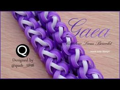 Gaea Rainbow Loom Bracelet - hook only Rainbow Loom Tutorials, Rainbow Loom Patterns, Rainbow Loom Creations, Rainbow Loom Bands, Rainbow Loom Charms, Rainbow Loom Bracelets, Loom Love, Fun Loom, Rubber Band Crafts