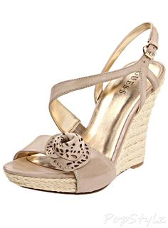 GUESS Latonia3 Leather Wedge Sandal
