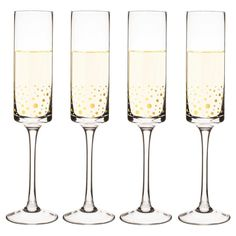 Cathy's Concepts Gold Dot Contemporary 8oz Champagne Flutes Set of 4, Clear