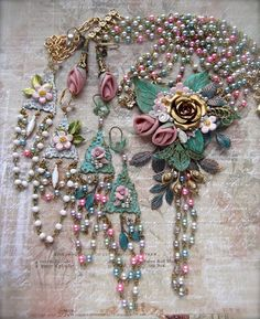 Spring Challenge Necklace with 3 earrings! Lots of B'Sue parts and some vintage pastel rosary chain. MockiDesigns.Etsy.com