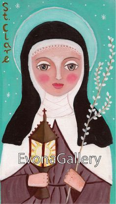 St. Clare of Assisi Art Painting Print 6x9 inches by Evonagallery