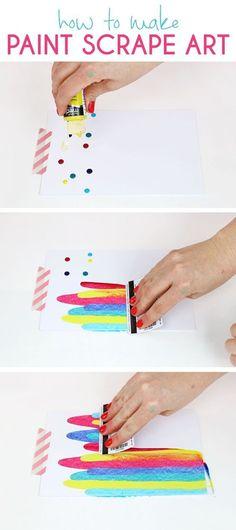 How to make Paint Scrape Art - fun and simple DIY art project idea