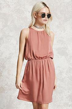 Satin Back-Slit Mini Dress