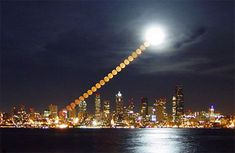 This time-lapse photograph of the moon rising over Seattle proves that even though low-hanging moons look larger than life to the human eye, it's all an illusion. To the camera, the moon appears to be the same size regardless of its location in the sky.