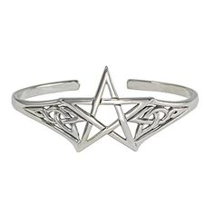 Sterling Silver Adjustable Cuff Pentagram Pentacle Bracelet Jewelry. Made of .925 solid sterling silver. Measures approximately 1 1/4 inches (3 cm) tall by 2 1/2 inches (6 cm) wide. Adjustable by bending.