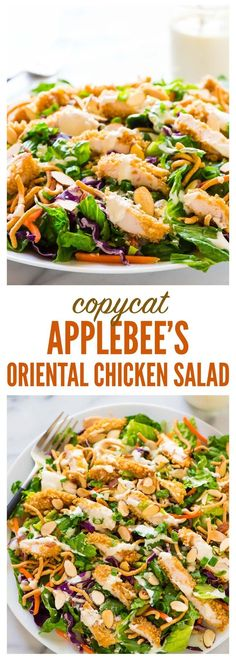 Healthy Salad Recipes 22298 Copycat Applebee's Oriental Chicken Salad. A better homemade version of the original restaurant recipe anyone can make! Juicy oven fried chicken, fresh greens, crispy ramen noodles in a sweet and tangy oriental dressing. Chicken Salad Recipes, Healthy Salad Recipes, Salad Chicken, Fresh Salad Recipes, Applebee's Oriental Chicken Salad Dressing Recipe, Applebees Asian Chicken Salad Recipe, Oriental Chicken Salads, Healthy Salad With Chicken, Green Chicken Salad Recipe