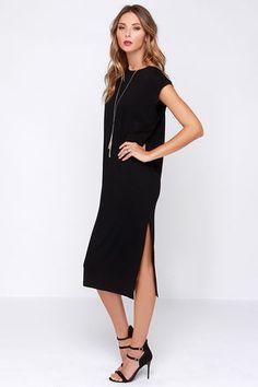 Cute Casual Dress - Black Dress - Shift Dress - Midi Dress - $29.00