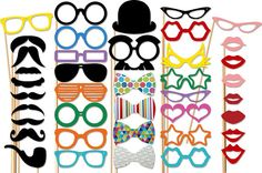 Photo Booth Props - 40 Piece Wedding Party Props Set - Photobooth Props. $55.00, via Etsy.