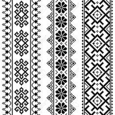 Folk Embroidery Design Slavic traditional folk art design on white background Geometric Embroidery, Folk Embroidery, Hand Embroidery Stitches, Hand Embroidery Designs, Cross Stitch Embroidery, Embroidery Patterns, Indian Embroidery, White Embroidery, Cross Stitch Borders