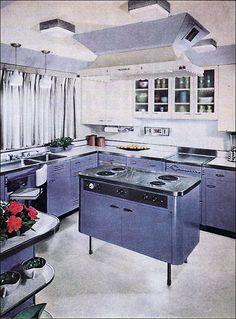 purple kitchen, scalloped edge on hood, glass cabinets, open shelves