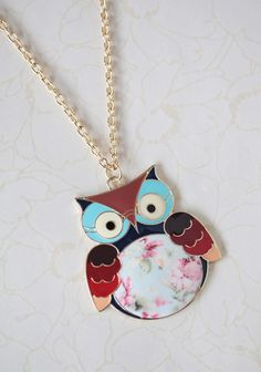 Woodland Owl Floral Necklace