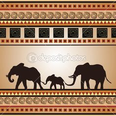 African ornament with a family of elephants
