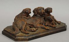 Black Forest dog group on plinth~ Swiss circa 1890  Alpenholz Antiques