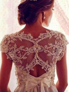 Embellished lace detail wedding dress