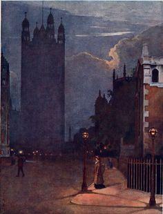 Victoria Tower Westminster by Moonlight - Yoshio Markino