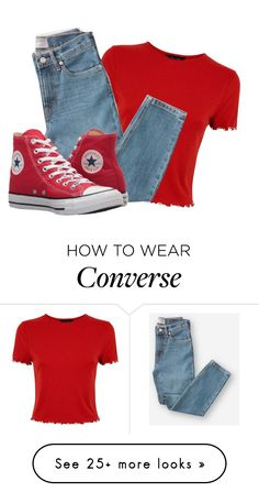 """• R E D •"" by louwrinktjappie on Polyvore featuring Everlane and Converse"