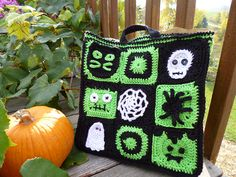Ravelry: Halloween Squares Tote pattern by Betsy Rheaume