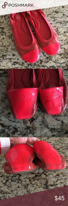 Red Coach Wenda Flats, Size 10B Adorable, super comfy red Coach Wenda flats, size 10B. Suede with Coach logo all over and red patent toe and heel. Nice cushy sole. Excellent condition - only worn once or twice. One or two light scuffs on the left toe, and some light wear on the bottoms of the heels (can't be seen when worn). Coach Shoes Flats & Loafers