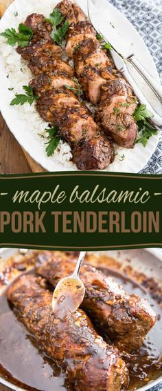 Pork Recipes Maple Balsamic Pork Tenderloin by Sonia! The Healthy Foodie Paleo Recipes, Cooking Recipes, Gourmet Dinner Recipes, Bariatric Recipes, Sausage Recipes, Dessert Recipes, Grilling Recipes, Lunch Recipes, Summer Recipes