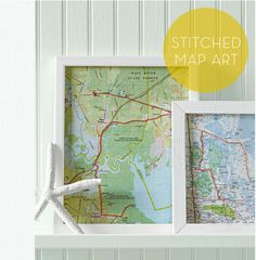 To commemorate a road trip or multi-city itinerary, create these embroidered map art pieces with DIY instructions from Martha Stewart. 12 Beautiful DIY Ways to Commemorate Your Travels Foto Gift, Diy Tableau, Map Artwork, Art Carte, Do It Yourself Inspiration, Vacation Memories, Travel Memories, Framed Maps, Ideias Diy