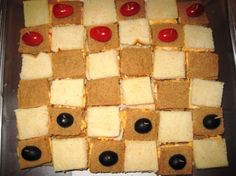 checkerboard cheese sandwiches  Game Night theme - blue and gold banquet