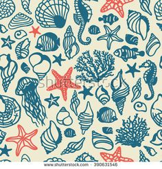 vector sea shells seamless pattern. It can be used for wallpaper, fabric design, textile design, cover, wrapping paper, banner, card, background, print
