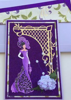22 trendy elegant birthday card for women paper crafts 21st Birthday Cards, Birthday Cards For Women, Handmade Birthday Cards, Greeting Cards Handmade, Art Deco Cards, Tattered Lace Cards, Purple Cards, Dress Card, Christmas Cards To Make