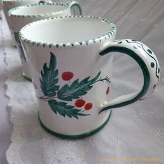 Italian Hand Painted Christmas Mug with Holly Signed & Numbered Coffee Mug Tea Cup   Glazed Ceramic Pottery