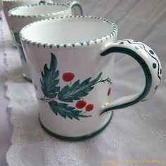 Italian Hand Painted Christmas Mug with Holly Signed & Numbered Coffee Mug Tea Cup   Glazed Ceramic Pottery