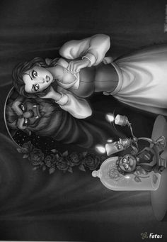Beauty and the beast: Coloring for adults - Kleuren voor volwassenen Blank Coloring Pages, Disney Coloring Pages, Coloring Books, Beauty And The Beast Art, Sun Tattoo Small, Disney Cartoon Characters, Disney Colors, Black And White Drawing, Dark Fantasy Art