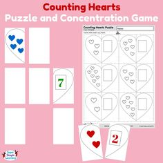 Counting Hearts Puzzle and Concentration Game from Super Simple Learning. Practice counting, writing numbers, and colors.  #prek #kindergarten #Valenitines