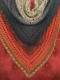 A crochet Scheepjes cotton whirl shawl in progress. The pattern is a free combination of various stitches. Stitches, Knitting, Crochet, Pattern, Cotton, Free, Fashion, Shawl, Moda